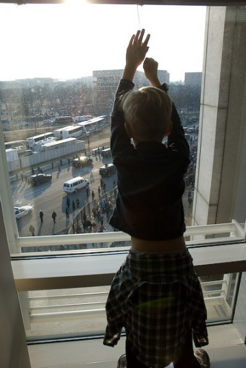 Then we watched a boy watch the people below.