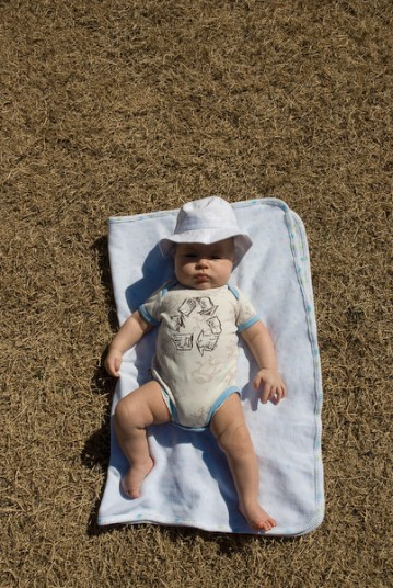 Isaac roasting in the sun.