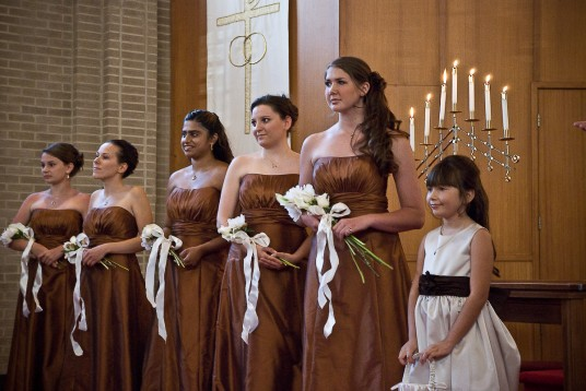 The bridesmaids and flowergirl.
