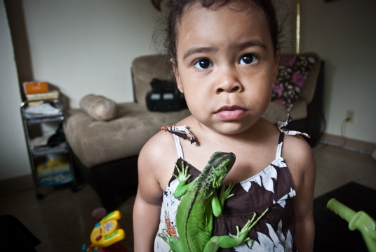 Andrea with her cousin's iguana.