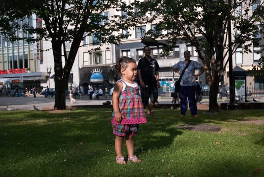 Andrea with her family at the Boston Commons.